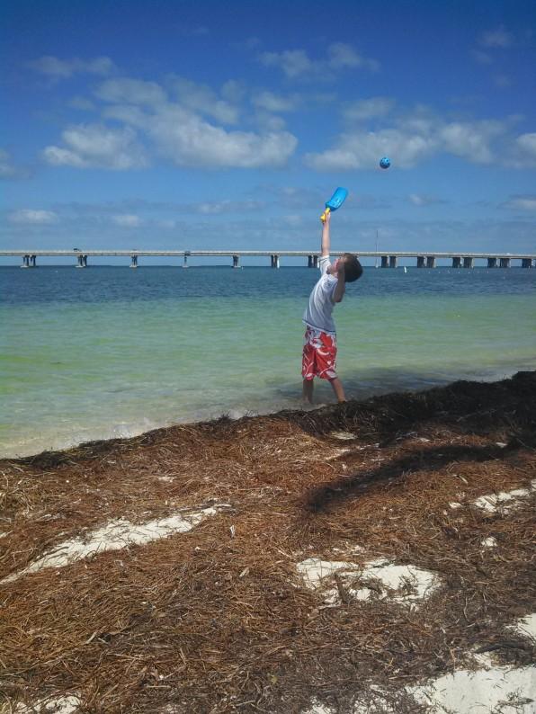 Having fun on the seaweed beach